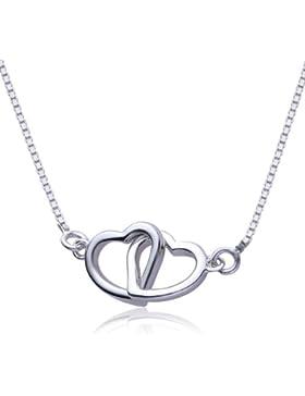VIKI LYNN Damen Kette double Herz Kette Sterling Silber 925 Halskette mit 2 verschlungene Herzen Anhänger
