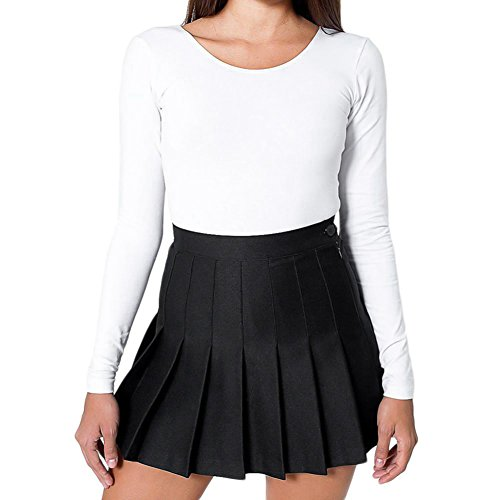 Womens Pleated Tennis Skirt High Waist Slim Thin School Box Pleat Uniform Skirts Mini Dress Small Black