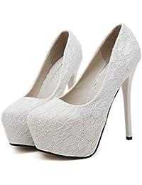 Xianshu Zapatos de encaje único impermeable boca baja zapatos de tacón alto