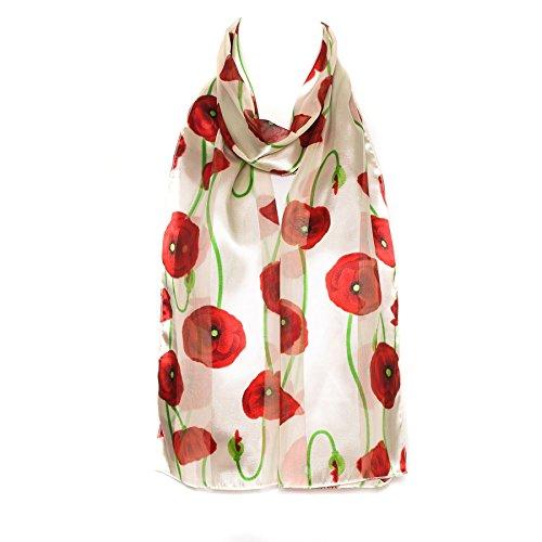 Mohnblumen Damen der Frauen Schal Schal Verpackungs weiße Chiffon Satin Dame Frauen Schal Schal Verpackung (Chiffon-schal Der Frauen)
