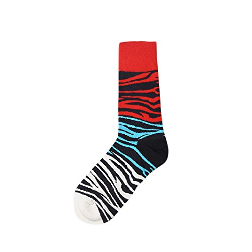 Voberry Männer Streifen drucken Farbe Block Baumwolle Socke bunte Casual Socken (B)