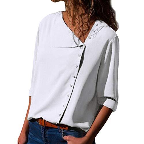 VRTUR Damen Oberteile Langarm T-Shirt Beiläufig Revers Hals Schnalle Elegant Bluse Tops (X-Large,Weiß)