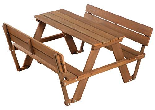 roba Kinder Outdoor Sitzgruppe 'Picknick for 4' Outdoor +, mit Rückenlehnen, Sitzgarnitur mit 2 Bänken, 1 Tisch, Massivholz, für drinnen und draußen, wetterfest, besonders langlebig