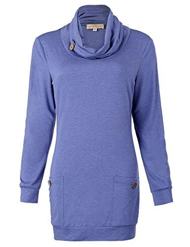 Belle Poque Langarm Oberteile Baumwolle mit drapiertem Hals und Taschen für Damen M
