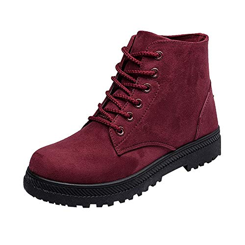 Uomogo stivali donna invernali scarpe, stivaletti martin in tela scarpe con punta rossoonda
