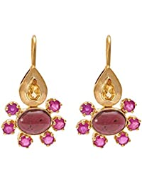 Gehna Yellow Gold and Ruby Drop Earrings