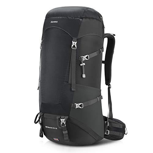 Gonex Trekkingrucksack 65+10L Tagesrucksack mit Regenhülle für Wandern Reise Outdoor Bergsteigen schwarz