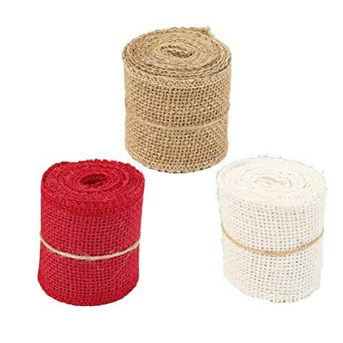 HEALIFTY 3pcs DIY Sackleinen Band Roll für Hochzeitsgeschenk Verpackung Rot Weiß Leinen Farbe - Weiße Leinen-band