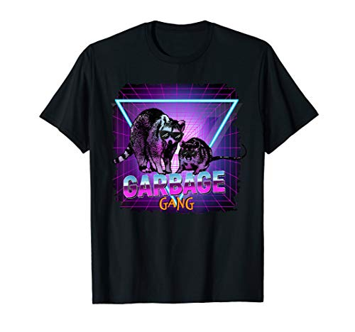 Waschbär Ratte Retro Synthwave Garbage Gang Lustig Geschenk  T-Shirt - Gang Green T-shirt