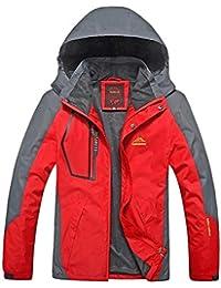 Kuerli Chaqueta de esquí Impermeable para Hombre Patchwork Mountain Casual  Abrigo a Prueba de Viento con b6b9de796bcba