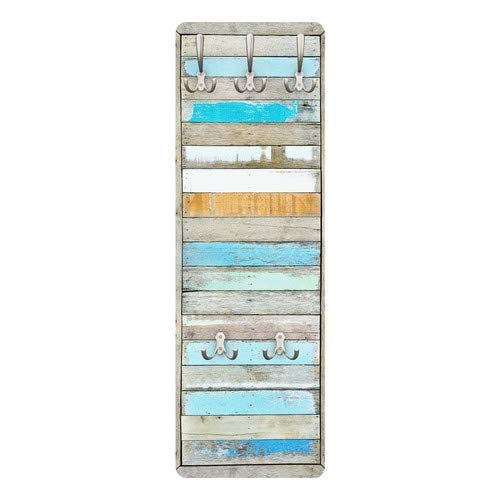 Apalis 79483 Wandgarderobe Shelves of the Sea natura | Holz Maritim Flur Haken Edelstahl Holzbild Wandpaneel Design Büro | 139x46cm