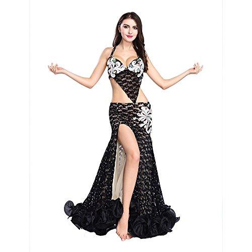 ROYAL SMEELA Bauchtanz-BH-Rock-Kostüm-Set Sexy Spitzen Halfter Top und Meerjungfrau-Rock Professioneller Tanz Performance-Anzug Für Frauen Vintage Tanzkleidung Kleider