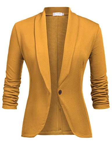 Jacke Kostüm Gelbe - LaLaLa Damen Blazer Cardigan Dünn 3/4 Geraffte Ärmel Elegant Bolero Business Jacke Blazer Slim Fit Anzug Trenchcoat Gelb S