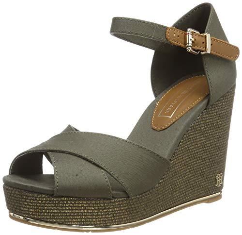 Tommy Hilfiger Feminine Wedge Sandal Basic, Plateau Donna, Verde (Dusty Olive 011), 38 EU