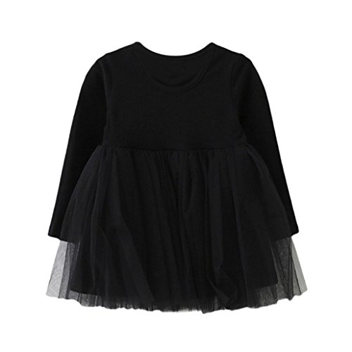 Amlaiworld Baby Mädchen bunt Langarmshirt Flickwerk Tutu Kleinkind Freizeit weich Kleider,1-4 Jahren (1 Jahren, ()
