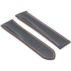 DASSARI Modena Smooth Italian Leather Watch Band for OMEGA in Black w/ Orange Stitching 22/20 22mm