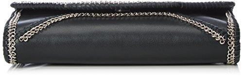 kaviar gauche Envelope Clutch w. small flower chain, Sacs bandoulière Noir - Schwarz (black/silver)