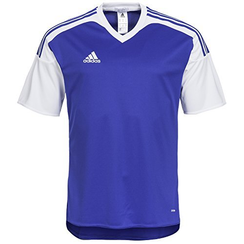 adidas Maglietta Uomo Team13 JSY Maglia Blu Maniche corte quadretti T-Shirt - Uomo, Blu - bianco blu, M, poliestere
