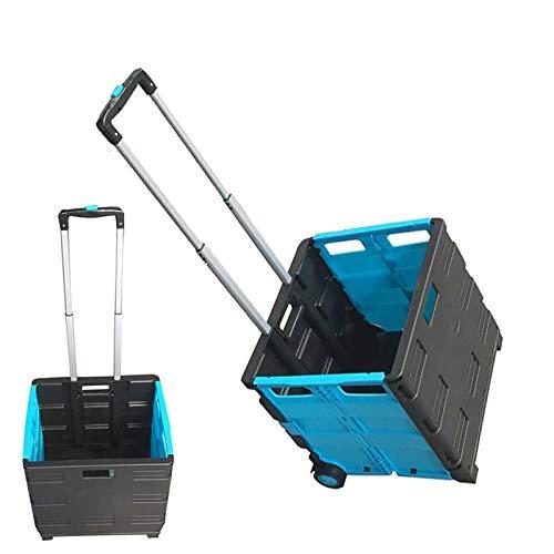 SHIJIAN Faltender Warenkorb mit Rad-zusammenklappbarem Handrollen-Kisten-Lebensmittelgeschäft-Warenkorb for Archivamt-Reise (Color : Blue) -