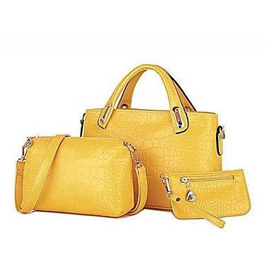 La donna pu Shopper Borsa a tracolla / Tote / Frizione - Beige / blu / giallo / nero,Beige Beige