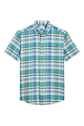 next Uomo Camicia In Madras A Quadri A Maniche Corte Verde