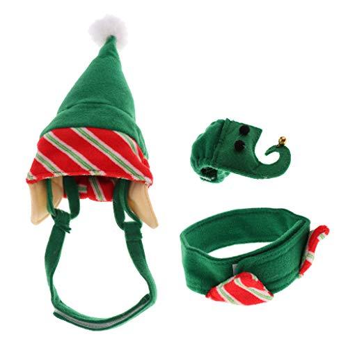 F Fityle 4 STÜCKE Hund Hut + Bein MANSCHETTENKRAGEN Santa ELF Hund Katze WELPEN Weihnachten KLEIDEN (Santa's Elf Kostüm Hunde)