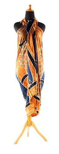 Sarong ca. 170cm x 110cm Handbemalt inkl. Sarongschnalle im Herz Design - Viele exotische Farben und Muster zur Auswahl - Pareo Dhoti Lunghi Fisch Rot Orange Braun Batik