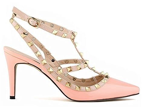 Minetom Fête Party Été Boucle Chaussures Rivet Épissure Stiletto Pumps High Heels Talons Hauts Femme Escarpins Pointed Toe Casual Filles Pink EU 41