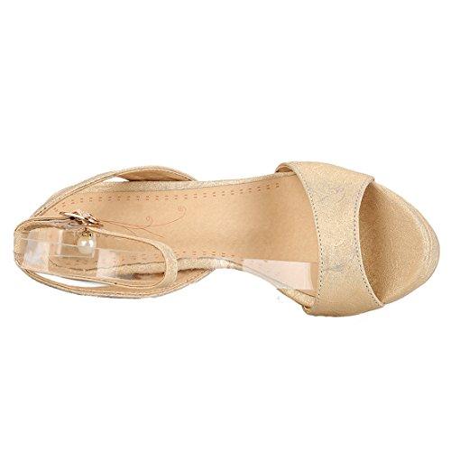 AIYOUMEI Damen Offene Knöchelriemchen Plateau Sandalen mit Schnalle Stiletto Sommer Modern Abend Schuhe Gold