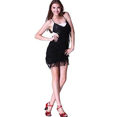 Damen Latin Dance Pailletten + Fransen Kleid Ballsaal Rock Standard Ball tragen Gr. One Size, Dunkelblau