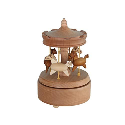 cheerfullus Spieluhr zum Aufziehen aus Holz für Kinder und Liebhaber Carousel (Weihnachts-musical Carousel)