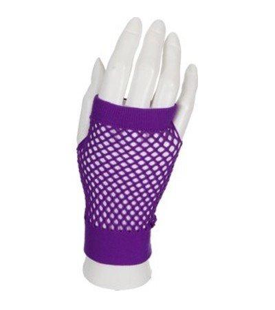 handschuhe Netzhandschuhe fingerlos kurz lila violett gloves viola Schlagerparty