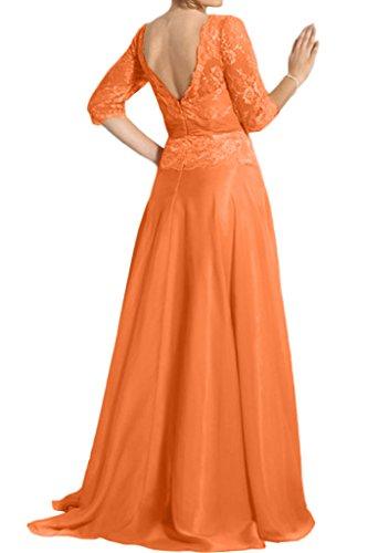 Promgirl House Damen Leuchtend Orange Spitze A-Linie Brautmutter Ball Abendkleider mit Lange Aermel Grün