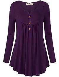 DJT FASHION Femme Manches Longues Fluide Casual Top Blouse Tee Shirt Haut  Chic Casual Basique Col 312bd6b8df13