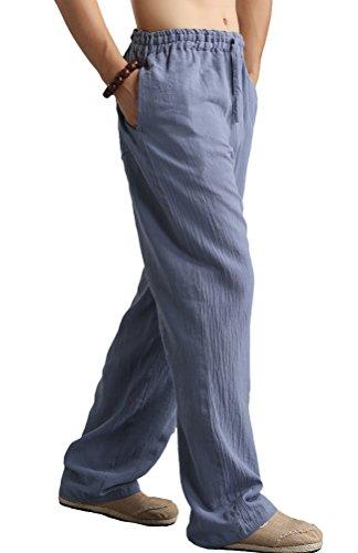 Vogstyle Herren Casual Strandhosen Leinen Hose Lockere Stoffhose mit Kordelzug Style 1 Blau