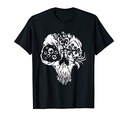 Sketch Scary Skull Tattoo Style Design Drawing Graphic Top T-Shirt