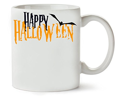 Happy Halloween Orange Letters Logo Bat Klassische Teetasse Kaffeetasse