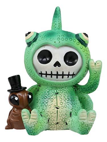 Ebros Furrybones Camo The Chamäleeon mit Buddy Cricket Figur, klein, 7,6 cm, H Pelzknochen, Skelett Monster, Sammlerstück, Deko-Statue, Gothic, DOD, Reptilien, Gecko, Eidechse, (Honig Bären Kostüm)