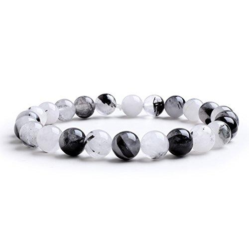 Candyfancy Schwarzer Rutilquarz Armband 8mm Natürlich Stein Bergkristall Bead Perlen Elastisch Armreif Damen Herren