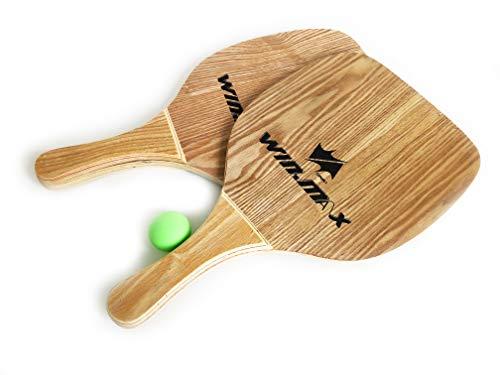 Beach Paddle 2er Set Strand Tennischläger für Erwachsene aus Holz (Farbe: Braun) mit Ball, Schlagfläche 22,5 cm, passend für Pools, Meer, Strand