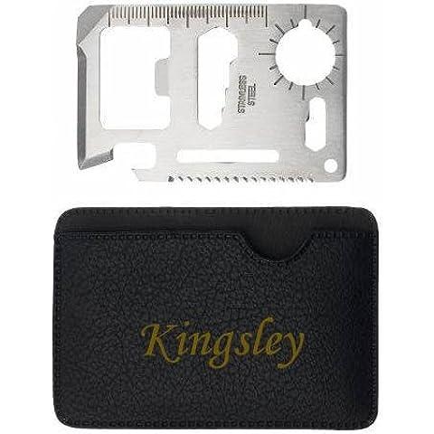 Herramienta multifunción de bolsillo con estuche con nombre grabado: Kingsley (nombre de