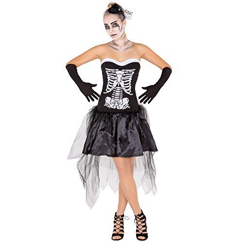 Costume da donna - Lady scheletro sexy | Sensuali dettagli | Particolare acconciatura per il capo (M | no. 300114)
