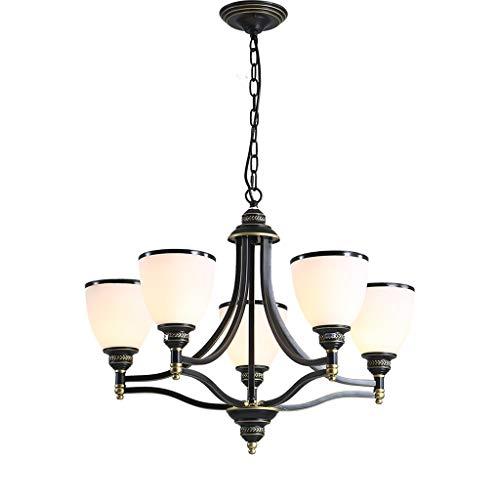 YMXLJF Lampenschirm der europäischen minimalistischen modernen Retro- Schmiedeeisen dekorativer Lampen-Deckenlampe E27 Kreativer Kronleuchter (größe : 5 Light) - Fünf Light Kronleuchter Lampe