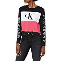 تي شيرت للنساء خط لوني بالعرض مطبوع عليه شعار العلامة التجارية من كالفن كلاين، لون بنفسجي، مقاس X-S