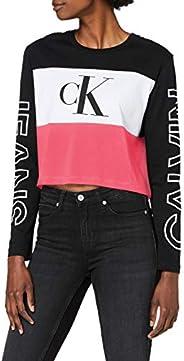 Calvin Klein Women's BLOCKING STATEMENT LOGO LS TEE L/S T-S