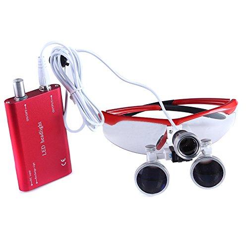 Mike-Dental Tragbare Dental-Lupe, optisches Glas, 3,5 x R, mit LED-Lampe, verschiedene Farben rot