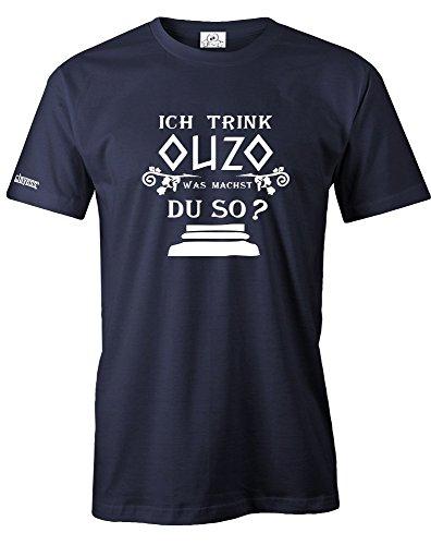 ICH TRINK OUZO - WAS MACHST DU SO - HERREN - T-SHIRT in Navy by Jayess Gr. XL