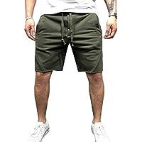 Hombre Pantalones Cortos De Algodón 3 4 Jogger hasta La Rodilla Pantalones  Cortos Color Sólido 7e37599c43cf