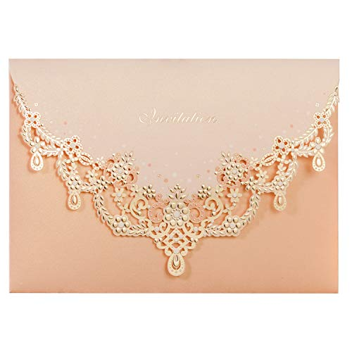 WISHMADE 20x Blush Hochzeitseinladungskarten-Set mit Gold Halskette gefaltetes Design für Hochzeits Einladungs Verlobung Party inkl Umschläge (20 Stück)