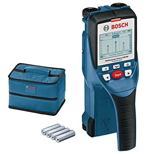 Bosch Professional Wallscanner D-tect 150 SV, 150 mm Erfassungstiefe, Schutztasche, 4 x 1,5-V-LR6-Batterien (AA)